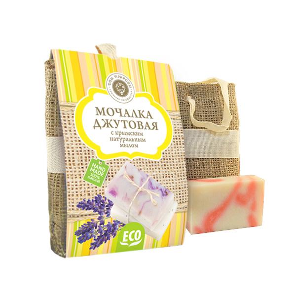 Мочалка Джутовая с натуральным мылом Роза 80 гр.
