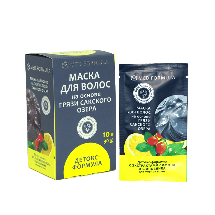 Маска для волос на основе Сакского озера - Детокс-формула: для жирных волос 1 саше-пакет, 30 гр.