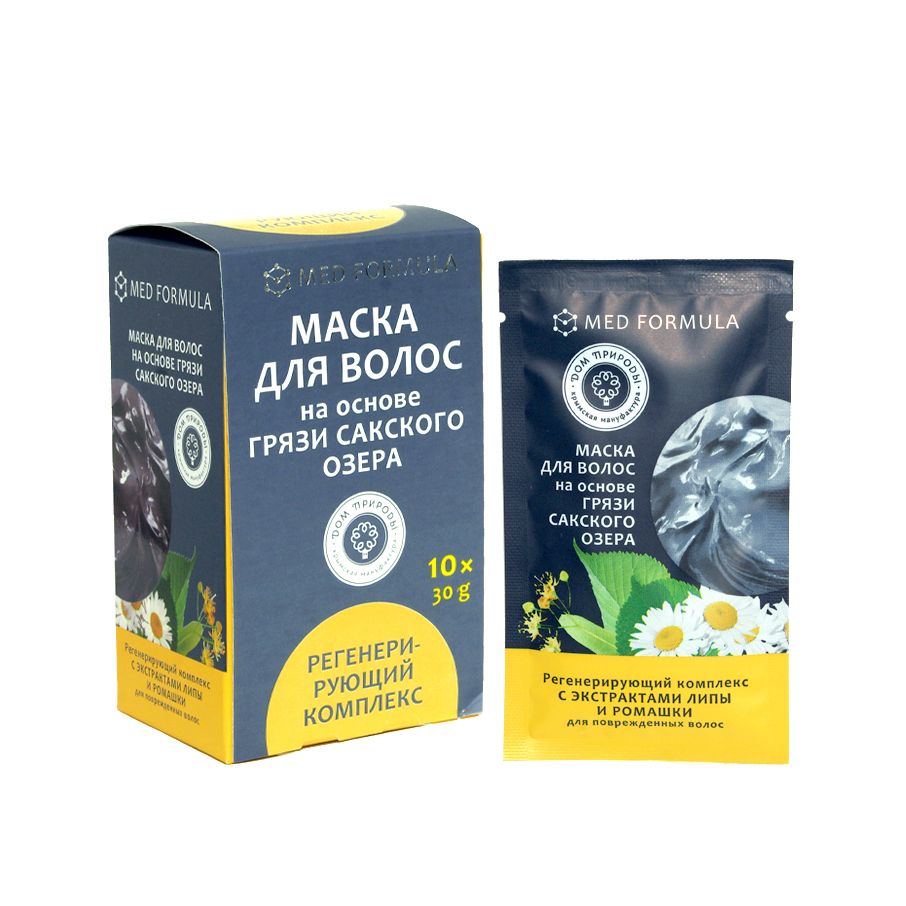 Маска для волос на основе Сакского озера - Регенерирующий комплекс: для поврежденных волос 1 саше-пакет, 30 гр.