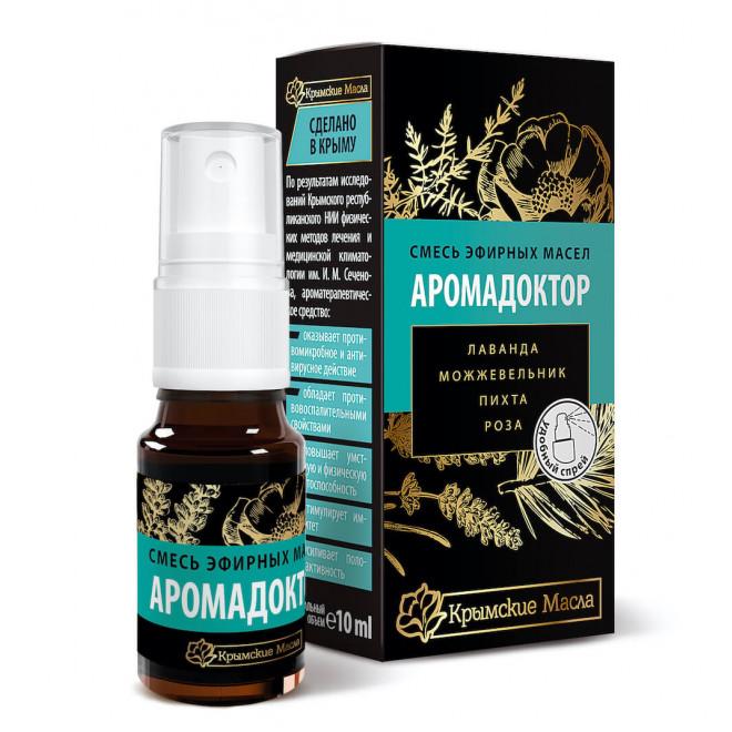 Аромадоктор - это смесь эфирных масел можжевельника, лаванды, эвкалипта и розы. 10 мл.