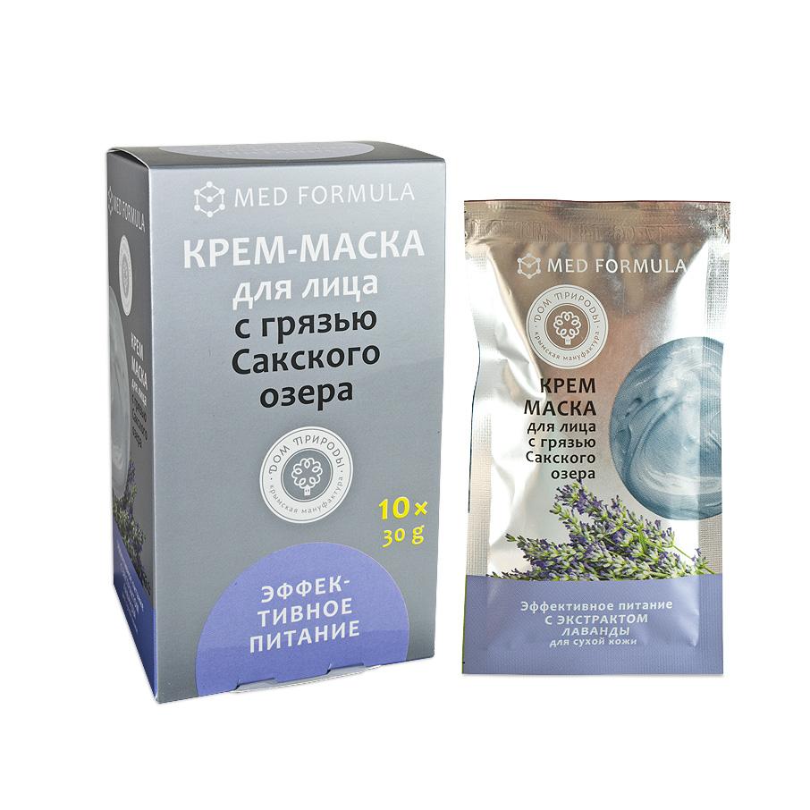 """Крем-маска для лица """"Эффективное питание"""" для сухой кожи с грязью Сакского Озера 1 саше пакет 30 гр."""