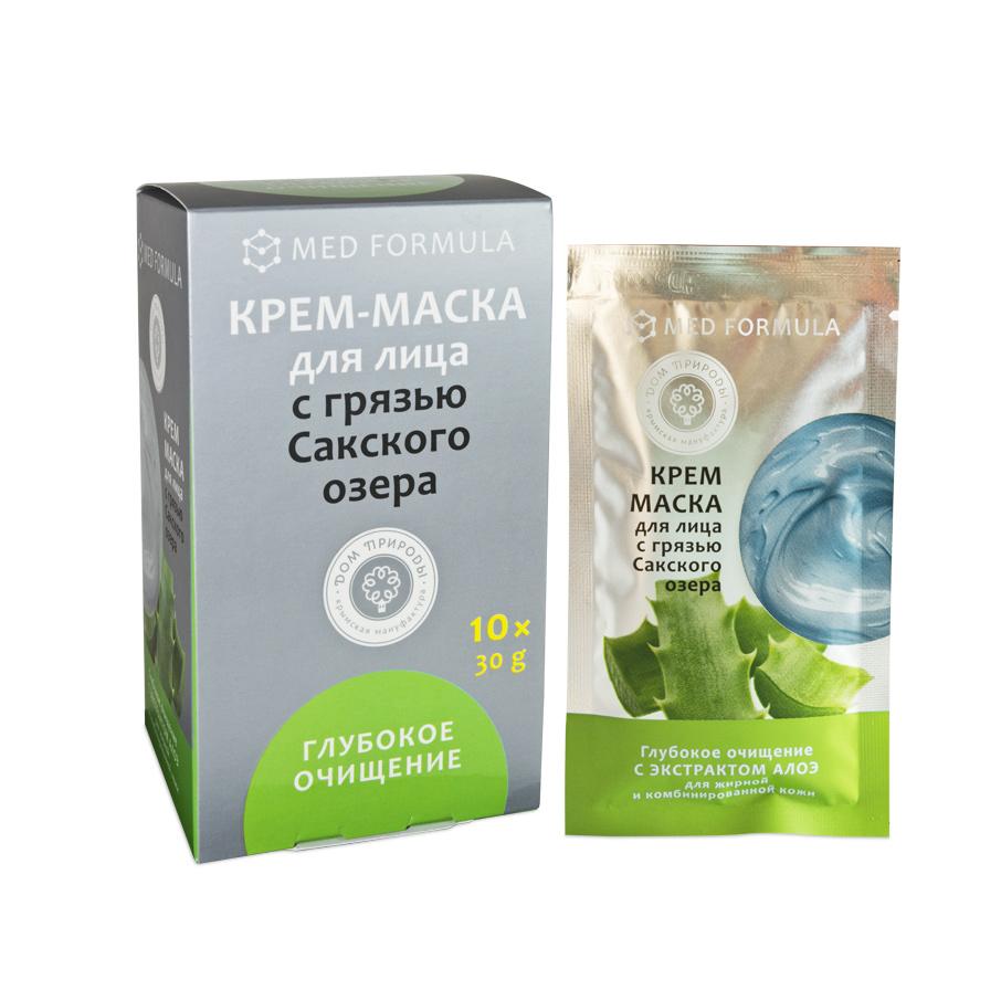 """Крем-маска для лица """"Глубокое очищение"""" для жирной и комбинированной кожи с грязью Сакского Озера 1 саше пакет 30 гр."""
