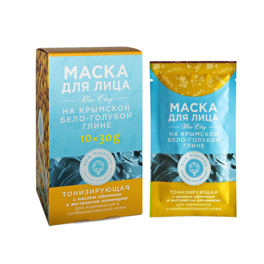 """Маска для лица на бело-голубой глине """"Тонизирующая"""" для нормальной и комбинированной кожи 1 саше пакет 30 гр."""