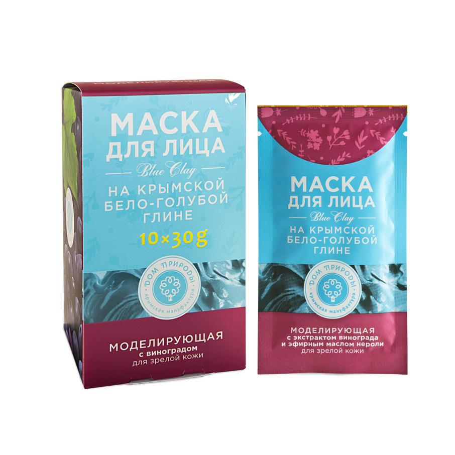 """Маска для лица на бело-голубой глине """"Моделирующая"""" для зрелой кожи 1 саше пакет 30 гр."""