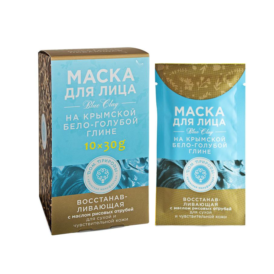"""Маска для лица на бело-голубой глине """"Восстанавливающая"""" для сухой и чувствительной кожи 1 саше пакет 30 гр."""