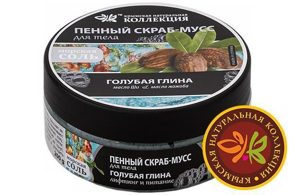 Пенный скраб-мусс для тела Голубая глина - Лифтинг и Питание 200 гр.