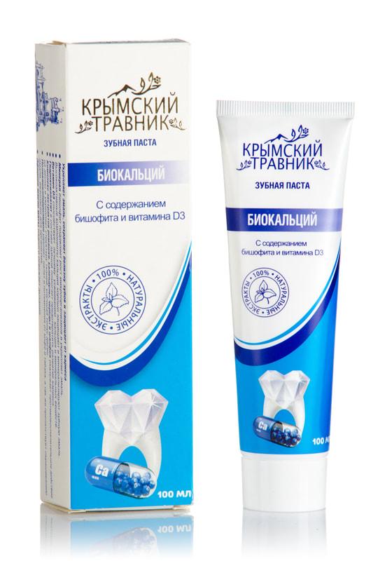 """Крымская зубная паста """"Биокальций"""" 100 мл."""