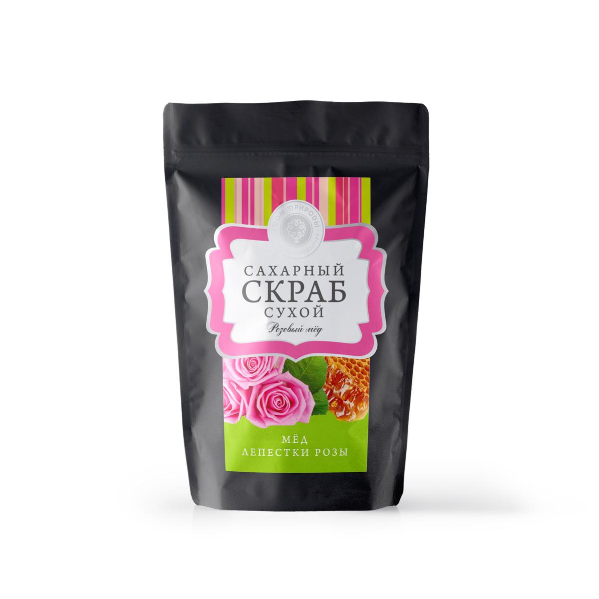 "Сухой сахарный скраб для тела ""Розовый мед"" 250 гр."