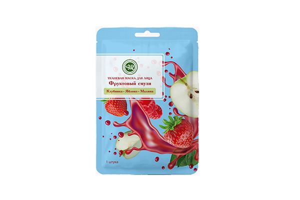 Тканевая маска для лица фруктовый смузи Клубника+Яблоко+Малина