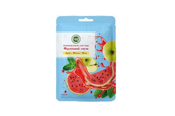 Тканевая маска для лица фруктовый смузи Арбуз+Яблоко+Мята