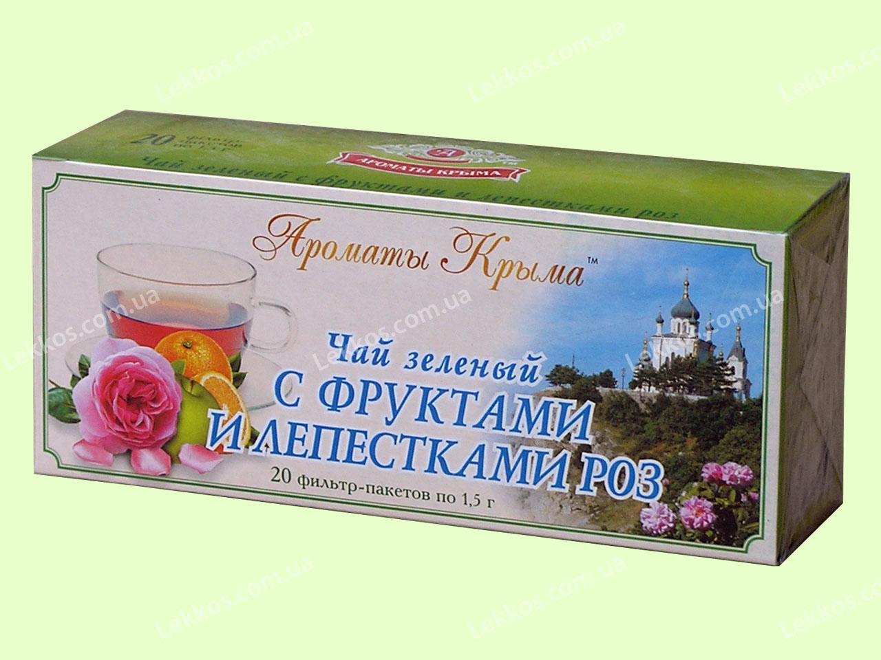 Чай зеленый с лепестками роз пакетированный 20 пакетиков