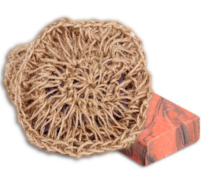 Мочалка вязаная с мылом Чайная Роза