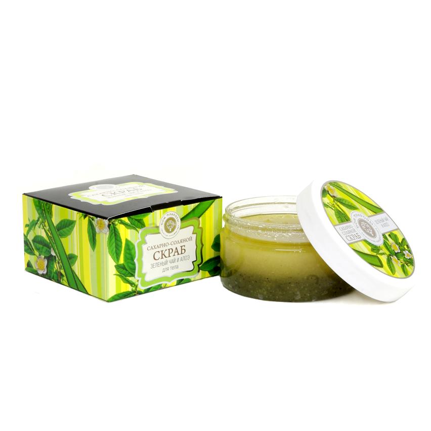 Сахарно-Соляной Скраб Зелёный Чай и Алоэ 300 гр.